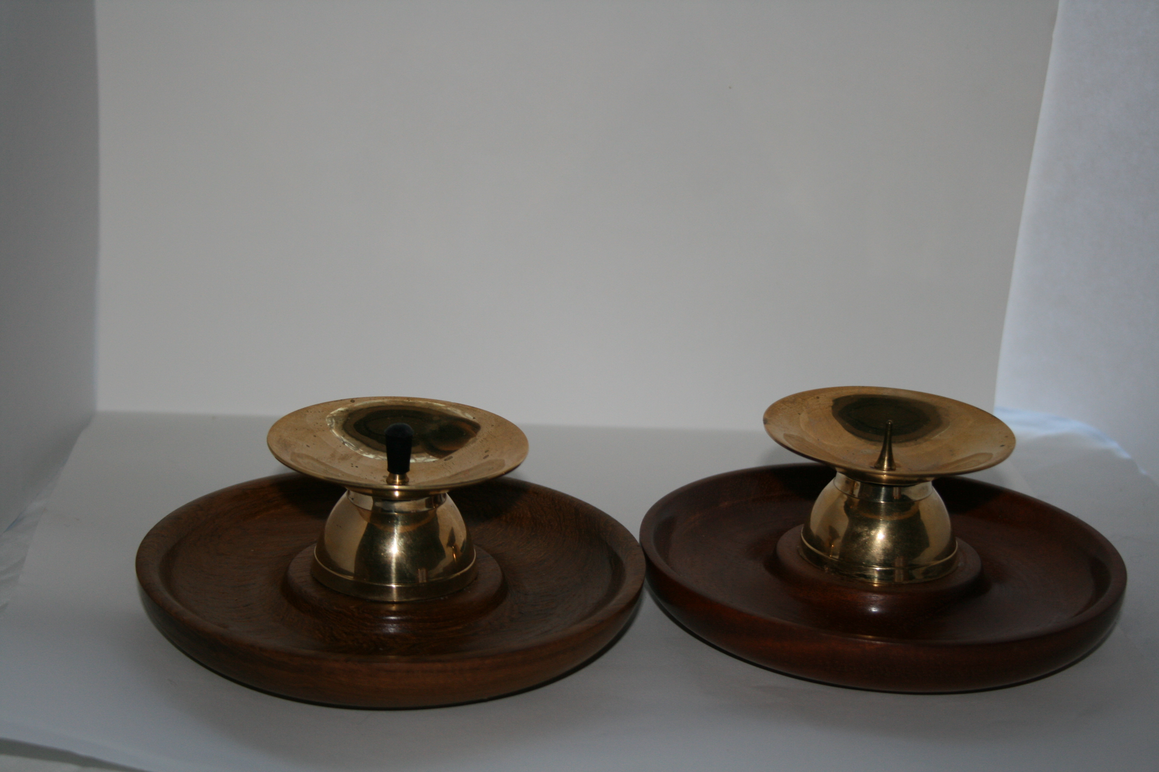Candle brass spike on Mahogany round base