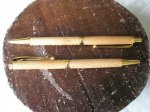 Pair of slimline roller ball pen and pencil set, in London Plain and 24carat Gold plated trimmings