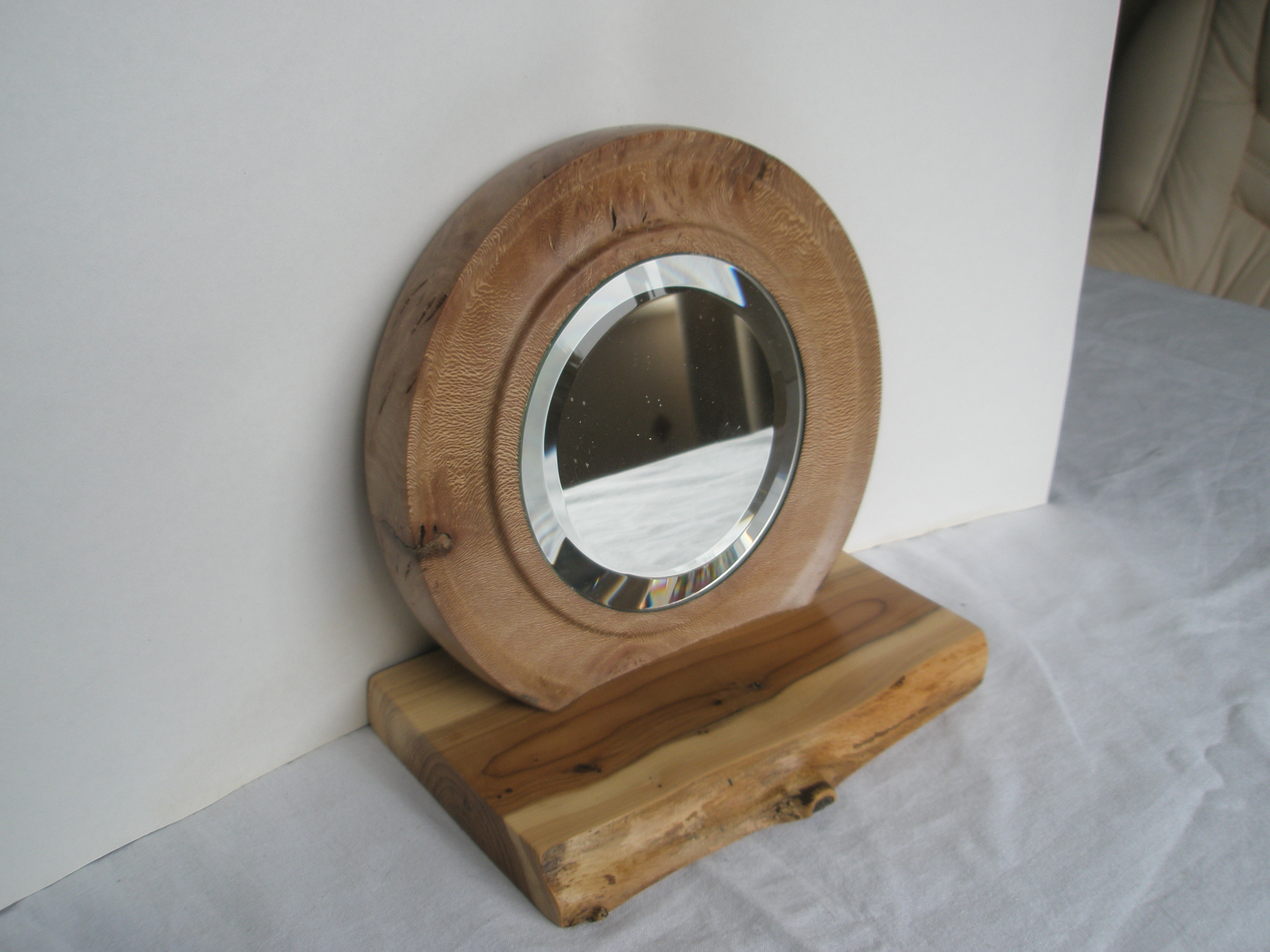 Tabletop Mirror on a solid London Plain backing inserted into a Yew base